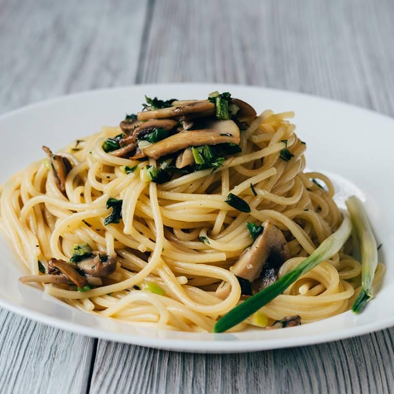 Spaghetti sauce aux cèpes et petits lardons