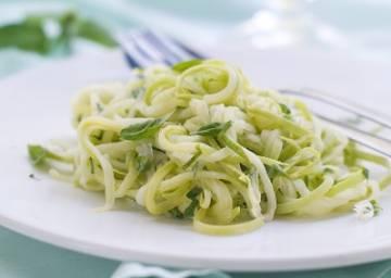 Spaghetti courgette chèvre miel