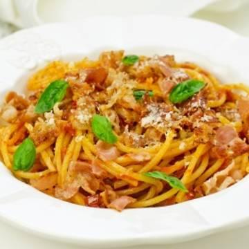 Spaghetti tomate, ricotta et bacon