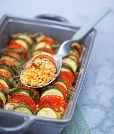 Tian de coquillettes aux petits légumes