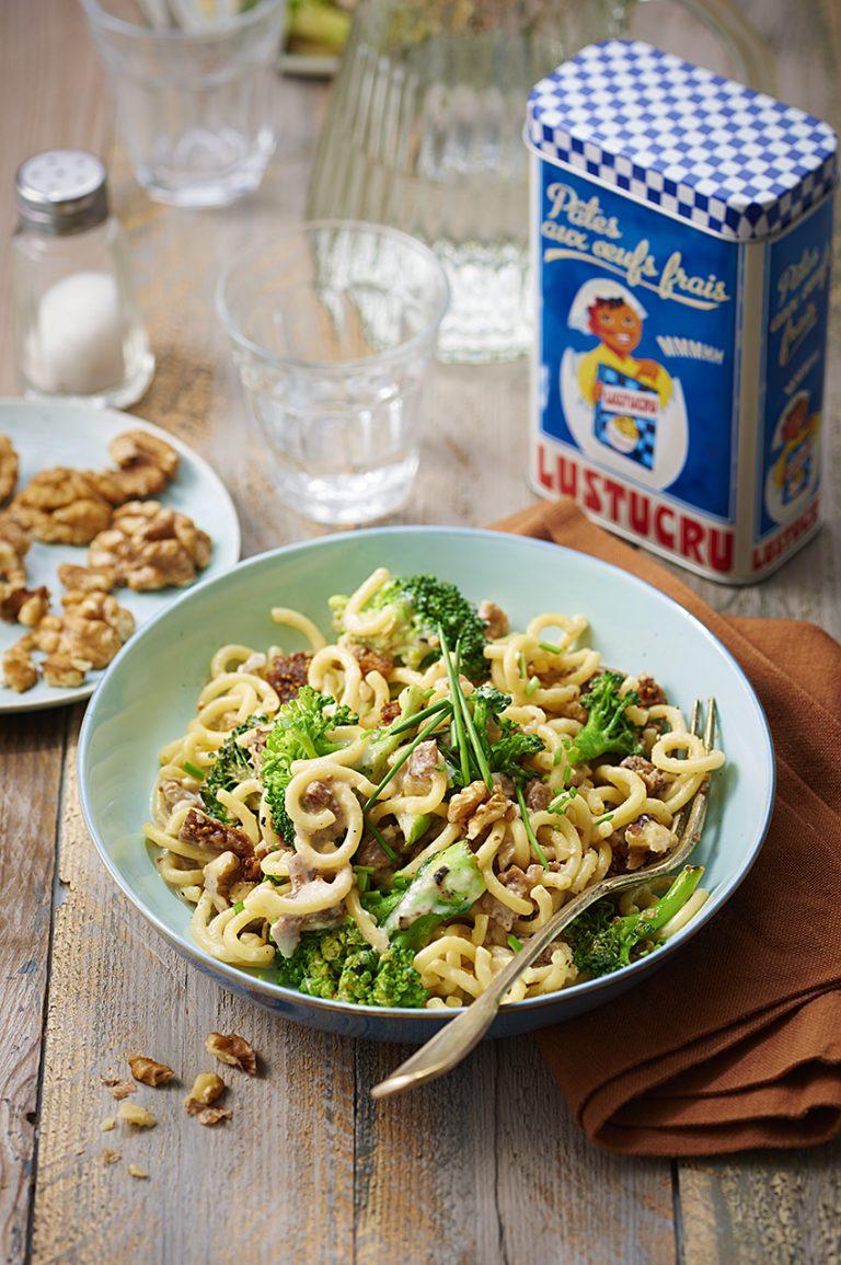 Spaghetti courts au chèvre, figues et brocoli